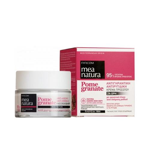 Veido kremas nuo raukšlių, išlaikantis odos drėgmę iki 24 val. Farcom Mea Natura Pome Granate Anti-Ageing Face Cream 24 Hour 50ml