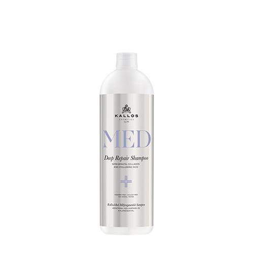 Stipriai atstatantis šampūnas pažeistiems plaukams Kallos Med Deep Repair Shampoo 1000 ml