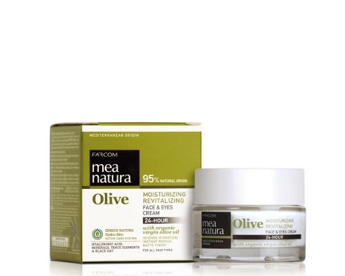 Drėkinantis, gaivinantis veido ir akių kremas, išlaikantis odos drėgmę iki 24 val FARCOM Mea Natura Olive Moisturizing, Revitaling Face&Eyes Cream 50 ml