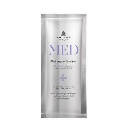 Stipriai atstatantis šampūnas pažeistiems plaukams Kallos Med Deep Repair Shampoo 20 ml