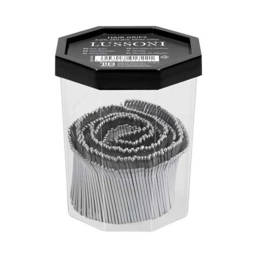 Segtukai plaukams sidabriniai LUSSONI Hair Grips, 4 cm, 250 pcs, silver color